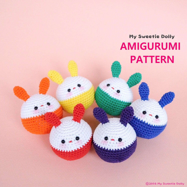 Close Amigurumi Ball : Bunny Crochet Ball // AMIGURUMI PDF PATTERN