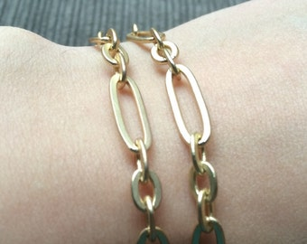 Brushed Gold Plated Chain Bracelet