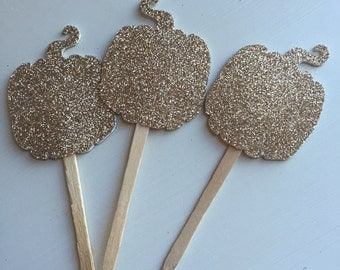 Gold Glitter Pumpkin Fall Party Cupcake Picks
