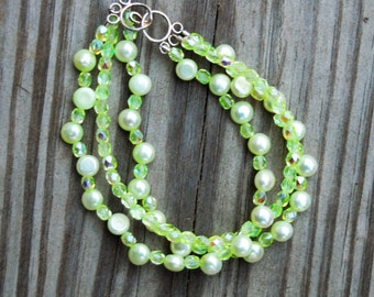 Pale Green Pearl and Crystal Multi-Strand Bracelet, Pale Green Pearl Bracelet, Green Crystal Bracelet, Multi-Strand Pearl Bracelet