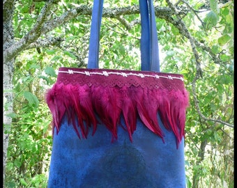 Chaman leather bag and feather