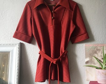 70s Pinstripe Belted Tunic
