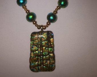 Green, Blue & Gold Jewelry Set - Women's Jewelry Set - Large Pendant Necklace - Gold - Blue - Green - Earrings - Women's Jewelry - Statement