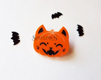 Reserved for Hayley - LAST ONE - Pumpkin Kitty Art Orange Acrylic Pin Halloween Brooch - Cat O Lantern - Spellpaws Art