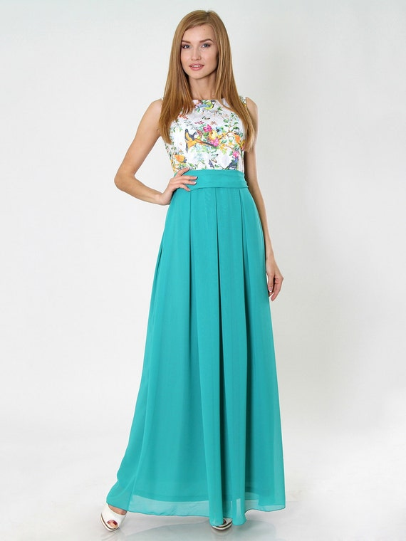 Formal Maxi skirt, Aqua mint Long chiffon skirt with pleats, flared Evening skirt.