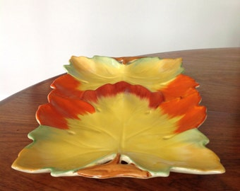 Clarice Cliff Art Deco leaf platter - tray - serving plate