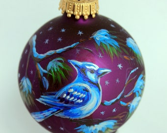 Hand painted Christmas Glass ornament Blue jay