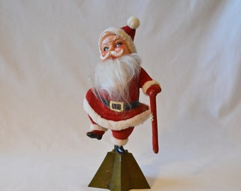 Vintage Dancing Santa Claus Flocked With Rubber Face From The 1950's
