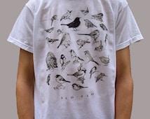 Bird T-shirt, Bird Drawing Top, Nature T-shirt, Wildlife T-Shirt, British Birds, Indie Shirt, Bird Watching, Twitchers, Birds Line Drawing