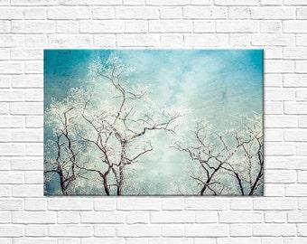 CANVAS ART: Dramatic Trees, Modern Tree Art, Winter Landscape, Contemporary Art, Aqua Wall Decor, Tree Photography, Hoar Frost, Winter Art