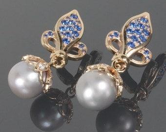 Pearl earrings, Dangle earrings, Modern earrings, Gold earrings, Women earrings, Sparkly earrings, Unique earrings, Art deco earrings