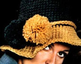 PDF crochet Pattern- Crochet Pattern Hat 1970s