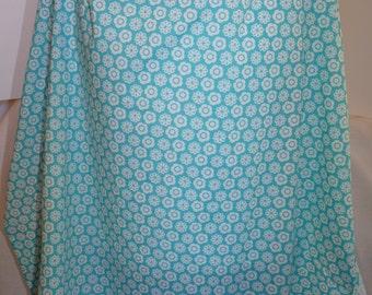 Nursing cover, aqua and white print, cotton breastfeeding cover up apron