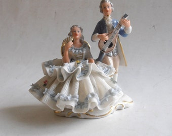 vintage porcelain lace lady and musician couple figurine crown N Dresden Germany