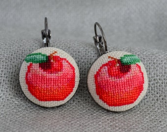Embroidered Apple Cross Stitch Earrings Embroidered Jewelry Unique Earrings Handmade Red Apple