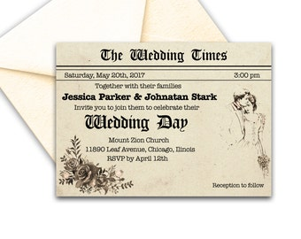 Rustic Wedding Invitation Newspaper Wedding Invitation Suite Printable Vintage Wedding Invitation Elegant Wedding Invitation
