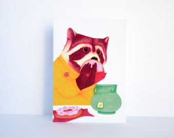 """Postcard - Raccoon """"Nathan"""""""