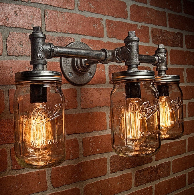industrial lighting lighting mason jar light steampunk lighting bar light industrial. Black Bedroom Furniture Sets. Home Design Ideas