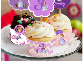 Sofia the First, Cupcake Wrapper and Toppers, Disney,  Sofia the First cupcake, Custom Sofia, Party Decoration, cupcake toppers