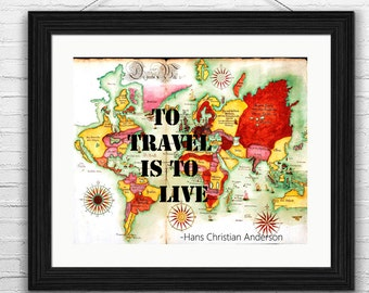 Travel Printable Art, Travel Quotes, World Printable Map, Old World Wall Art, Old World Map, Travel Quote Prints, Gift for Travelers