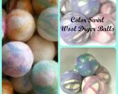 Wool Dryer Balls - 6 Large Natural Wool Dryer Balls - Dryer Ball Set  - Wool felt Balls - Great For Cloth Diapers - Felted Dryer Balls -