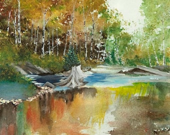Autumn Reflections Watercolor Painting Print