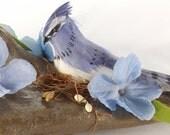 Woodland Decor, Blue Jay Centerpiece, Rustic Bird Decor, Beach Decor, Driftwood Decor