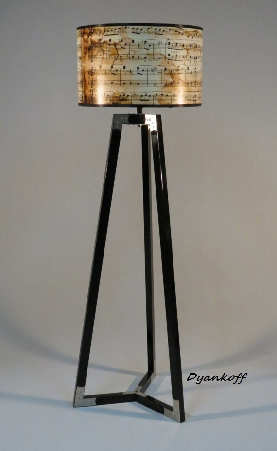 Handmade tripod floor lampwooden stand in glossy black color for Wooden floor lamp etsy
