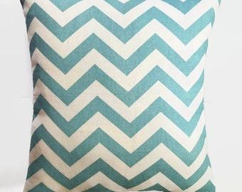 Aqua Chevron Pillow Covers