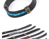 Blue and Black Leather Bracelet Groomsmen gift Shackle Bracelet Wrist Belt Style Multi Strand  Bangle men arm cuff  Men Antique Metal Buckle