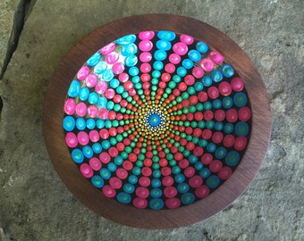 Vintage Wood Bowl Painted with Pink and Blue Mandala