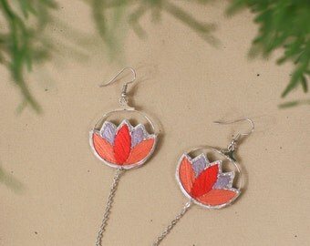 Long earrings with handmade embroidered flower, Pendant earrings with lotus flower,hoop earrings