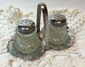 Vintage Glass Salt & Pepper Shaker Set with Metal Lids - On Metal Stand - 1960s