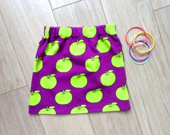 Purple skirt with apples, stretch, size 2T-3T, age 2-3 years, baby, toddler, little girls