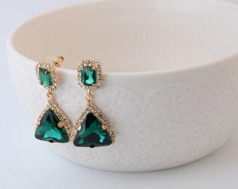 Green Wedding earrings Rhinestone Wedding Bridal Earrings Swarovski Emerald earring Emerald green earrings bridesmaid gift