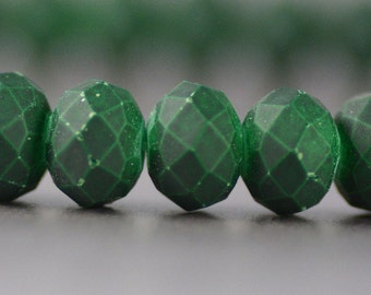 Chinese Crystal Rondelles with Rubberized Surface in Malachite Green 6x8mm