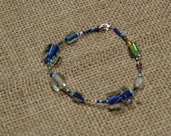 "Cane and Seed Bead Bracelet, Boho Bracelet — ""Bluegrass"""