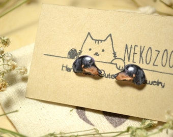 Dachshund Dog earrings handmade Tiny jewelry with linen cotton bag (Black)
