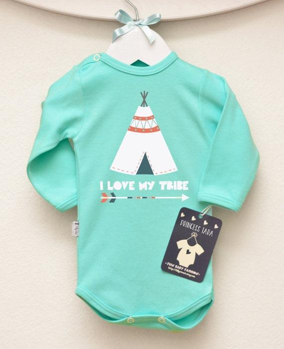 Love My Tribe Baby Bodysuit Teepee Baby by LittlePrincessTara