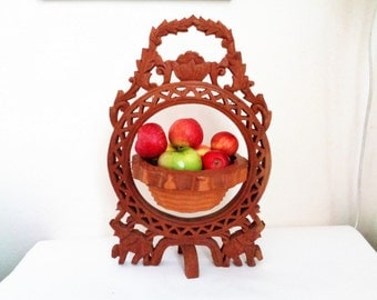 Wooden Folding Scroll collapsible bowl basket, Wooden Carved Fruits Holder, Folding Scroll Basket, Folding Flowers Basket, wooden basket,
