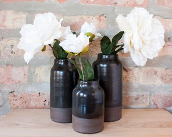 Modern Black & Brown Ceramic Bottle Vases by Barombi Studios