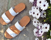 MIRANDA. Leather Sandals, Greek sandals, Two strap women shoes, Wedding shoes in white leather