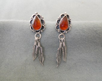 Southwestern Earrings Sterling Silver and Amber.   Stock #(1258).