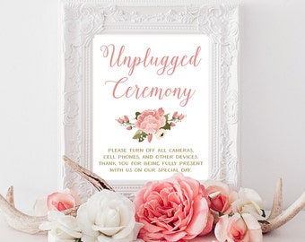 PRINTABLE Unplugged Ceremony Sign | 8x10, 5x7 Vintage Peony Unplugged Wedding | Pink & White No Cell Phones Sign | INSTANT DOWNLOAD