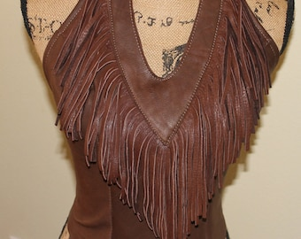 Brown Deer Skin Leather Boho/Hippie/Western Halter top
