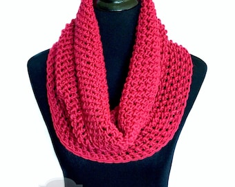 Pink Crochet Scarf, Crochet Cowl, Raspberry Infinity Scarf, Dark Pink Neck Warmer, Magenta Crochet Scarf, Light Red Snood Scarf