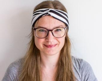 Sale - Striped Turban Headband - Turban Yoga Headband - Double Headband - Turban Head Wrap - Turban Head Band for Women - Black and White