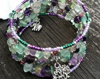 Fluorite bracelet , bangle semi-precious stones , memory wire bracelet, yoga , spirituality , tree of life, wellness, elephant, wish, charms