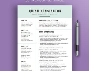 resume design template modern professional resume template word doc cv template - 1 Page Resume Template Word