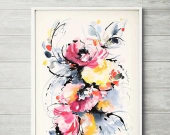 The Strokes, watercolor flower, watercolor art, watercolor flower print, abstract flower, abstract flower, abstract flower art